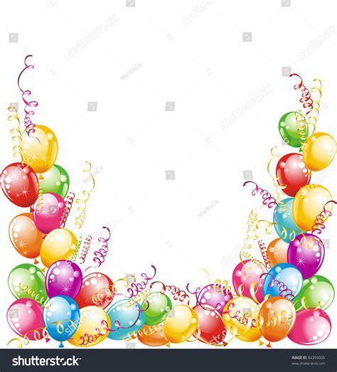 happy birthday balloons confetti isolated  stock