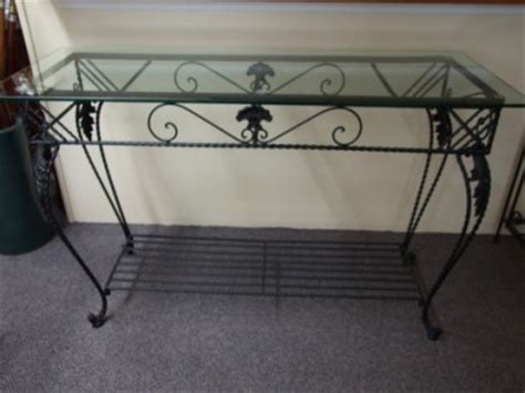 black iron and glass console table console hall table wrought iron glass no shelf black