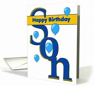 Happy birthday son balloons large letters card 1452228 for Happy birthday big letters