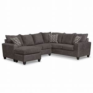Brando 3 piece sectional with modular chaise smoke for Large 3 piece sectional sofa