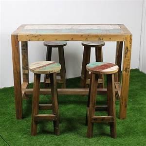 Table Haute Bois : table haute en teck de bois de bateau 140x70 cm tec3013 010 ~ Melissatoandfro.com Idées de Décoration