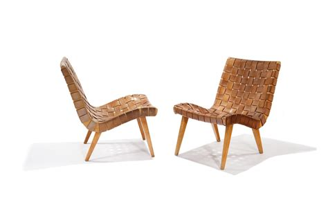 jens risom knoll pair of leather lounge chairs
