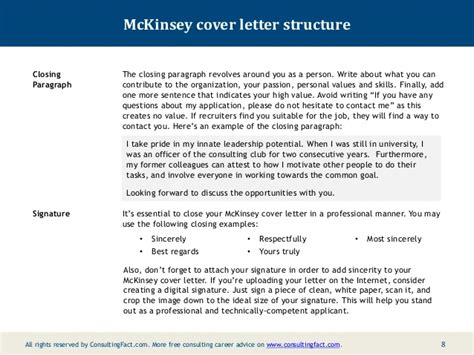 Best Consulting Cover Letters by Mckinsey Cover Letter Sle