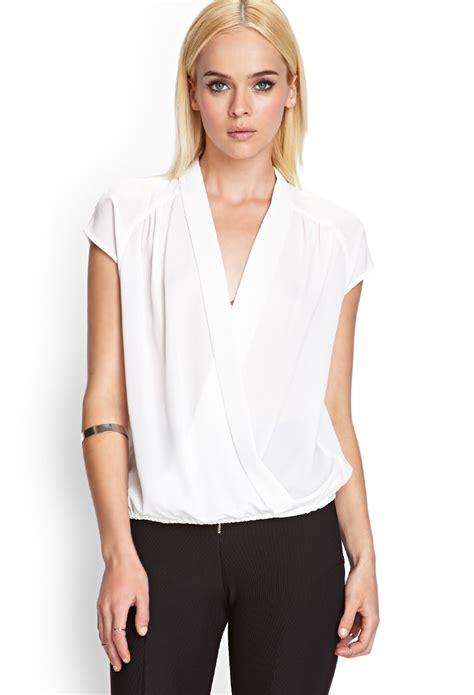 draped in lyst forever 21 v draped blouse in white