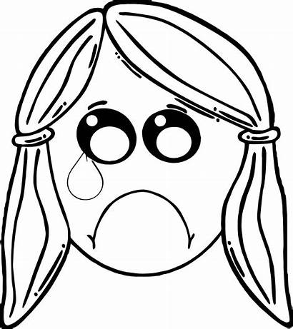 Coloring Pages Face Boy Cry Crying Printable