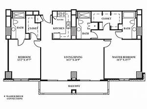 floor plan h 1408 sq ft the towers on park lane With bathroom between two bedrooms