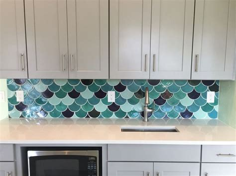 Overstock Tile Backsplash : Handmade Large Fish Scale Tile Kitchen Backsplash. Mercury