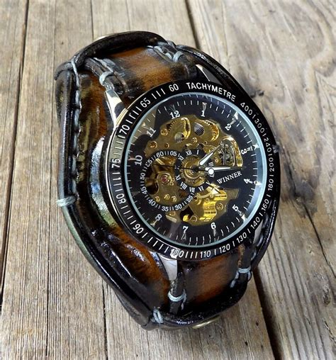 steampunk  leather  band mens leather