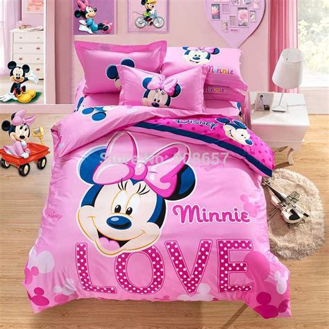 new pink beautiful minnie mouse printed bedding set cotton king size duvet quilt