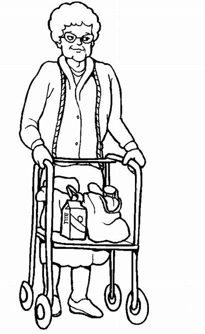Coloring Pages Grandmother Disabilities Help Need Elder