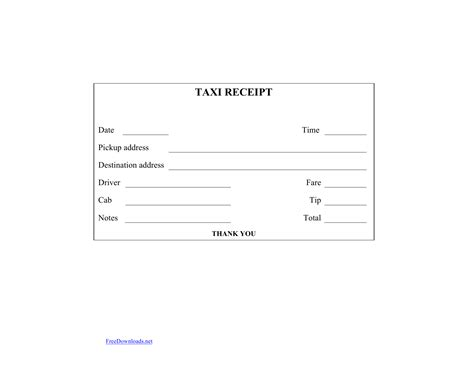 taxi receipt template blank printable taxi cab receipt template excel pdf rtf word freedownloads net