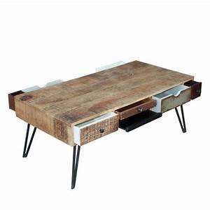 Table Basse Design Bois : table basse vintage en bois fusion by drawer ~ Teatrodelosmanantiales.com Idées de Décoration