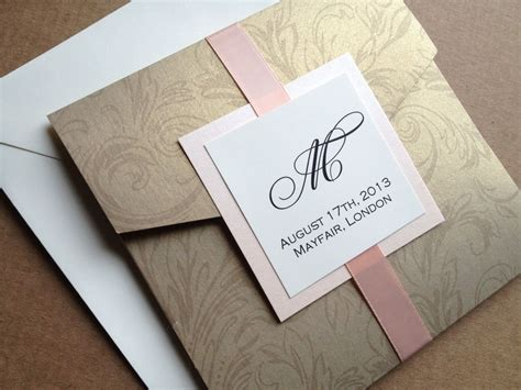 gold damask pocket wedding invitation square