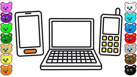 coloring  kids  smartphone laptop mobile phone