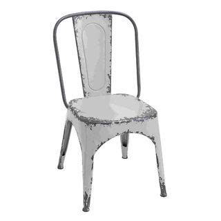 distressed white metal curved backrest chair