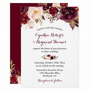 Burgundy red marsala floral chic fall wedding card for Floral wedding invitations canada