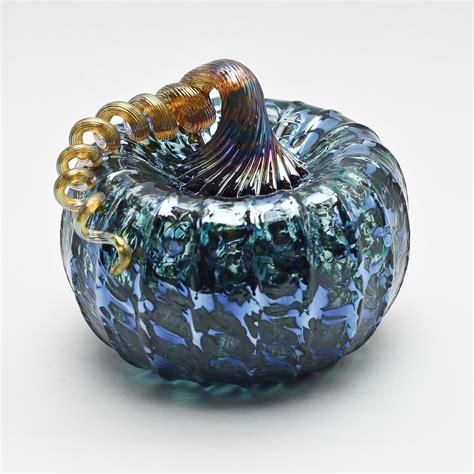 Gold Stem Pumpkin Blue By Bryan Goldenberg Art Glass