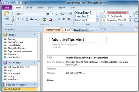 Outlook Meeting Minutes Template by Send Outlook 2010 Meeting Details To Onenote 2010