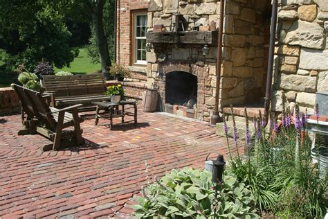 diy brick outdoor fireplace with rustic outdoor patio