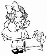 Coloring Doll Dolls Playing Sick Bed sketch template