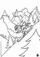 Coloring Skiing Boy Ski Hellokids sketch template