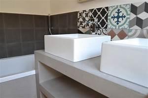 Carreaux Adhesif Salle De Bain : salle de bains carreaux ciment 7 photos amdeco ~ Melissatoandfro.com Idées de Décoration