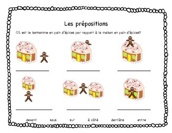 French Prepositions Worksheet  Christmas (gingerbread) Theme Tpt