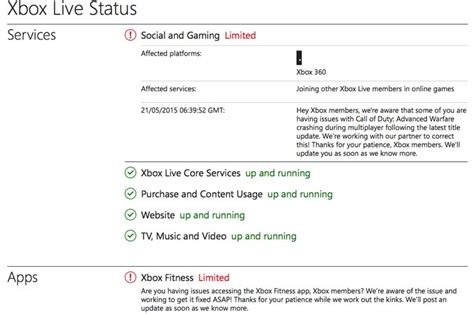 Xbox 360 Live Status Alert For Fitness App Game Problems