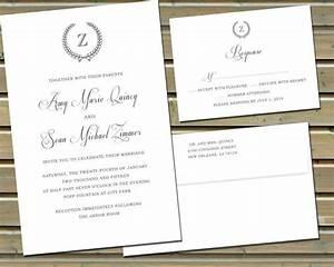 classic monogram wedding invitations and reply cards on With wedding invitations on cotton paper