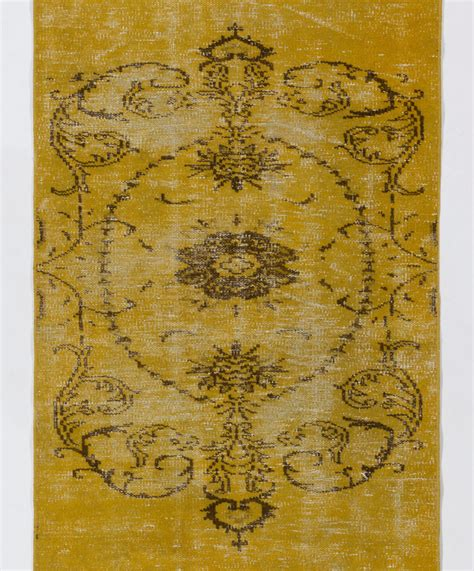 mustard area rug mustard yellow turkish overdyed rug 3 x 8 91 x 245 cm