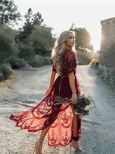 burgundy floral chain lace flowy side slit v neck