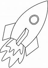 Rocket Coloring Simple Line Pages Rockets Ship Print sketch template