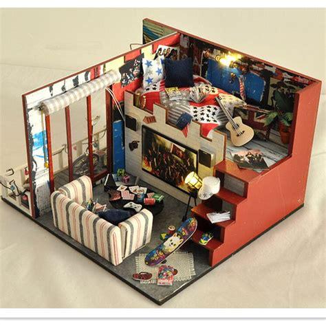 Günstige Miniature Holz Puppenhaus Möbel Diy Dollhouse Kit