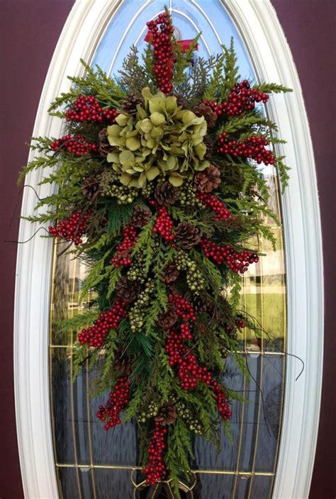 christmas door swags gorgeous wreath winter wreath vertical teardrop swag door decor quot seasons