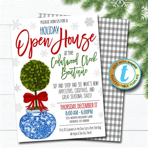 holiday open house invitation christmas boutique shopping