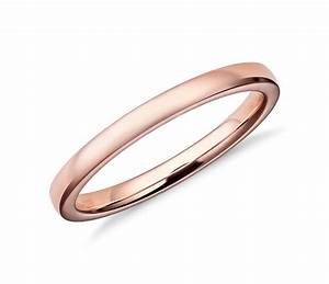 low dome comfort fit wedding ring in 14k rose gold 2mm With rosegold wedding rings