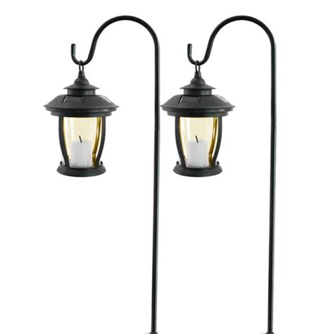 2x outdoor solar led garden hanging flickering candles
