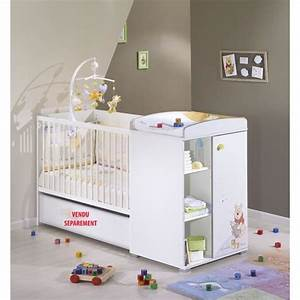 winnie l39ourson lit bebe transformable 120 x 60 blanc With chambre bébé design avec bouquet pas cher