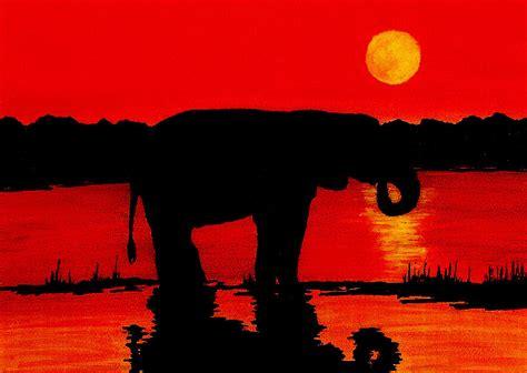 elephant silhouette sunset painting elephant silhouette sunset painting by michael