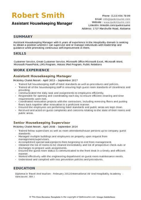 Resume Format For Housekeeping by Assistant Housekeeping Manager Resume Sles Qwikresume