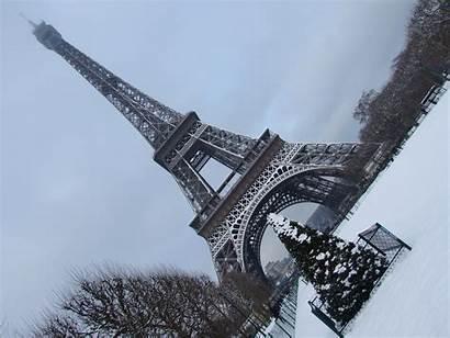 Eiffel Paris Tower Snow Tilted Winter Wallpapers