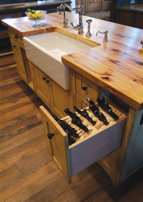 Under Cabinet Hanging Shelf by Butcher Block Island With Porcelain Sink And Knive Storage