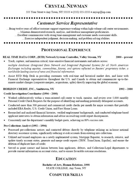 Exles Of Resumes For Customer Service by Customer Service Representative Resume