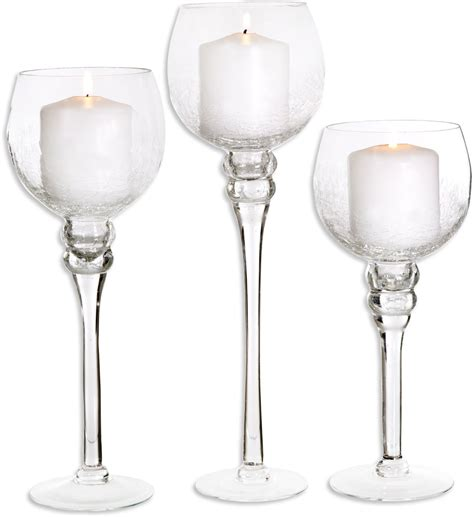 glass candle holders using glass candle holders to create central point to