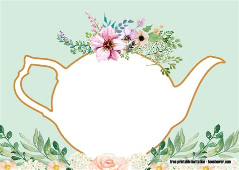 printable tea party baby shower invitations