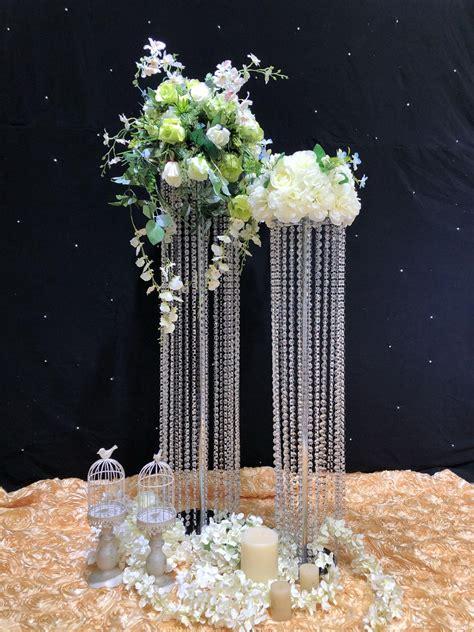 crystal wedding road lead flower vase led light