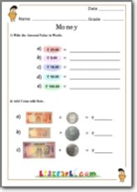 addition  money class  cbse syllabus money worksheet