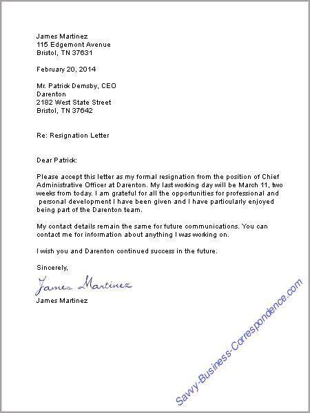 resignation letter business english pinterest
