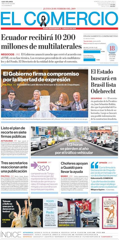 Portada Jueves 21 de Febrero-El Comercio (Ecuador)   ALnavío