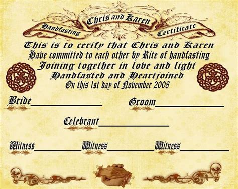 certificate of wiccan ordination template free handfasting certificate template pretty handfasting